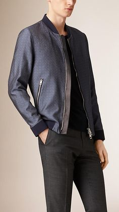 Burberry Navy Technical Jacquard Bomber Jacket - A bomber jacket crafted from technical jacquard-woven fabric for added shine.  The design features authentic bomber detailing, including a ribbed collar, hem and cuffs and zip pockets.  Discover the men's outerwear collection at Burberry.com