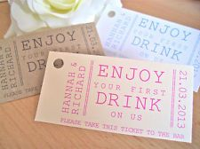 Personalised drink ticket / token wedding favour tag, Vintage 1st drink token