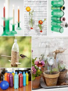 DIY Ucycled Bowling Pins by Jill DubienUpside down bottle vases and plastic bottle greenhouse at Poppytalk and hereMagazine Holder by and candle holders both by RecyclineBird feeder at Family Fun