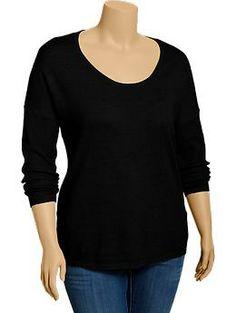 Womens Plus Scoop-Neck Sweaters