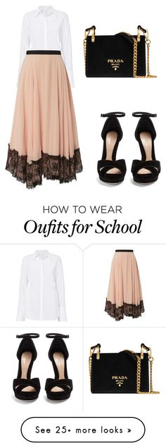 """First day of school"" by paris-is-for-me on Polyvore featuring Cinq à Sept, Alexander McQueen and Prada"