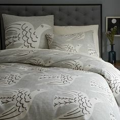 Cubist Bird Duvet Cover + Shams #WestElm  The best part about upgrading to a king is picking out new bedding! Grey Duvet Cover King