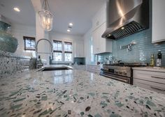"""Emerald Coast"" Vetrazzo countertop 