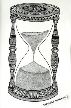 hourglass by Tatyanka-Gunchak on DeviantArt Easy Doodle Art, Doodle Art Designs, Doodle Art Drawing, Cool Art Drawings, Mandala Drawing, Art Drawings Sketches, Black Pen Drawing, Mandala Doodle, Tangle Doodle