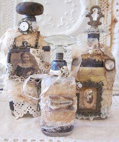 by lisa mcilvain Altered Bottles Altered Bottles, Antique Bottles, Vintage Bottles, Bottles And Jars, Glass Bottles, Mason Jars, Perfume Bottles, Wine Bottle Crafts, Jar Crafts
