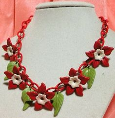 quint red flowers + leaves [celluloid necklace]