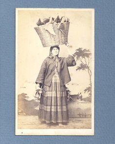 1860s CDV Photo ALBUMEN Portugal COSTUMES Street Seller BASKET w/SHOES Ethnic