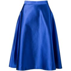 Vitorino Campos midi A-line skirt ($315) ❤ liked on Polyvore featuring skirts, blue, blue silk skirt, mid-calf skirt, blue skirt, a line midi skirt and calf length skirts