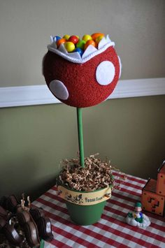 Kid's Party Ideas: Video Game DIY Piranha Plant Topiary Candy Bowl (Inspiration Only, No Patterns or Instructions)