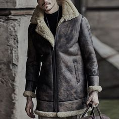 72903c8a3f4 Mens Thick Warm Winter Faux Shearling Leather Jacket Sheepskin Coat