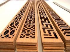 Wooden fretwork panels to overlay on furniture << window screens, air return vents, furnace vents, laser wood panels allover