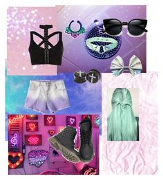 """pastel goth ❤"" by clea123 ❤ liked on Polyvore featuring Chanel, Halftone Bodyworks and Hot Topic"