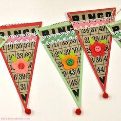 Bingo Card Bunting Banner... fun idea for studio or playroom!