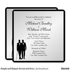 Simple and Elegant Groom and Groom Gay Silver Invitation