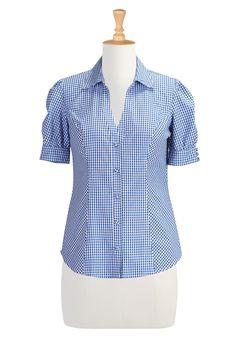 Gingham Check Cotton Shirts, Retro Puffed Sleeve Tops Women's designer fashion - Shop Women's Tunic Tops - Embellished Tops, Long Sleeve Top...