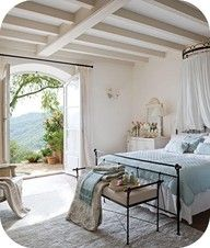 Reminds me of Sophie's room in Mamma Mia. Loving the vintage feel and the beautiful duck egg blue