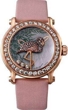 "Chopard -Animal World collection- 18K pink gold and round-cut diamonds""Flamingo""watch.The dial of this model is decorated with mother-of-pearl.Textile strap of bright color, matching the miniature on the dial. Quartz movement."