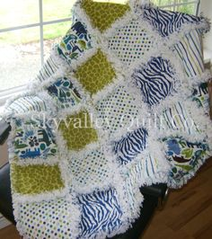 Baby boy rag quilt Navy blue and green zoo by skyvalleyquiltco. $89.99, via Etsy.