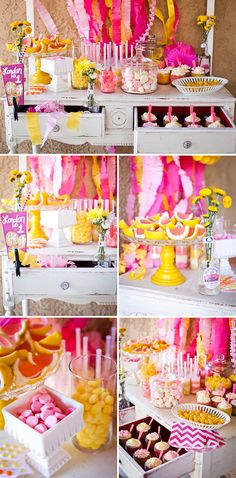 Dessert table at a pink lemonade summer birthday party