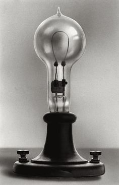 vintagehandsomemen:Thomas Edison's electric lamp, patented January 27, 1880.Thomas Edison's first successful incandescent lamp gave 16 candlepower of illumination. Invention of a reliable carbon filament lamp created new challenges for Edison, including the design and construction of the power plants and the wiring systems required for the reliable and affordable operation of electrical lighting systems.[Photograph; Corbis-Bettmann]