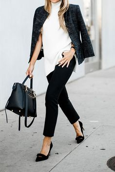 spring outfit, fall outfit, work outfit, black and white outfit, office outfit, business casual outfit - black crop blazer, white turtleneck sweater tunic, black ankle pants, black bow heels, black handbag
