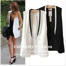 CS451 2016 New Celeb Style Women Tailored Tuxedo Vest Waistcoat Sleeveless Blazer Jacket Vest Coat Black White Free Shipping(China)