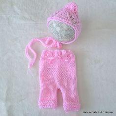 Pink Pixie pants and bonnet set