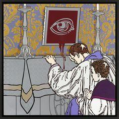 "Gabriele Arruzzo, ""senza titolo (Sancta Sanctorum)"", enamel and acrylic on canvas and wooden frame, 107x107cm, 2015 #gabrielearruzzo #art #painting #priest #allseeingeye #malevich #duchamp"