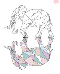 Day 154 Geometric elephant * he comes alive in the shadows