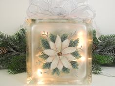 Lighted Glass Block Pink Poinsettia Silver Bow Hand Painted 5 3/4 x 5 3/4 x 3 1/4. $35.00, via Etsy.
