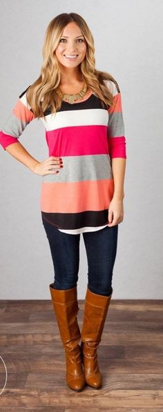 Colorful tunic top. Cute outfit. Stitch fix ideas More