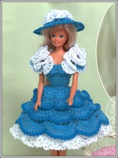 Barbie Crochet: Nice Dress, pattern I would leave the white flowers off the sleeves