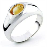 Sterling Silver Ring w/ Oval 8x6mm Citrine Center Stone, Size 7 citrine rings