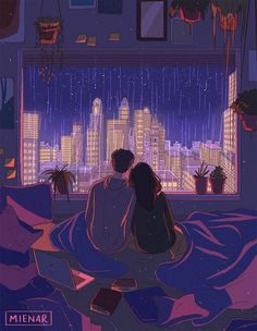 'city nights' Art Print by mienar Cute Couple Drawings, Cute Couple Art, Art And Illustration, Aesthetic Art, Aesthetic Anime, 8bit Art, Anime Scenery Wallpaper, Animes Wallpapers, Anime Love