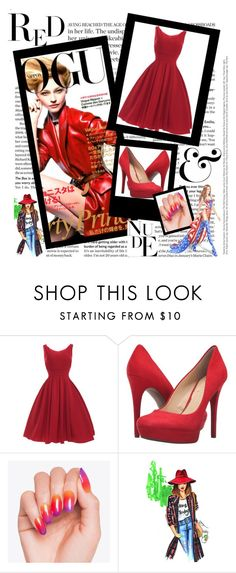 """Woman No.1"" by deemonk ❤ liked on Polyvore featuring Jessica Simpson, WALL, Victoria's Secret, red and dress"