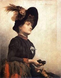 Femmes peintres- Anna Bilinska  1857-1893    Femme avec des jumelles