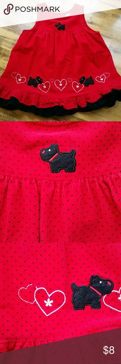 Red and black polka dot smock dress Another dress that is perfect for fall/winter! Red and black corduroy with black dogs and white hearts.   One heart has a tiny spot of thread missing. Last photo. Rare, too! Dresses