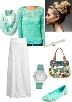 White Maxi Skirt, Teal long sleeve Top, Green/ White  Scarf and Teal Flats.