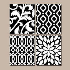 Arte de pared de dormitorio blanco negro, rejilla patrón remolino diseño, lona o impresiones, baño de arte, fotos cocina casa, explosión de flores, Set de 4