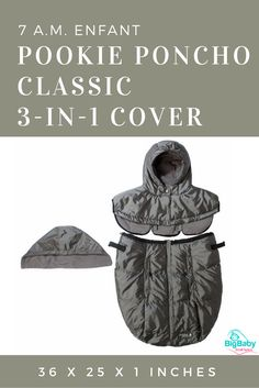Use the 7 A.M. Enfant Pookie Poncho Classic 3-in-1 Coveras a baby carrier cover or car seat cover or stroller bunting bag.