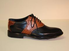 Black Kangaroo w Cognac Alligator Belly Custom Golf Shoe