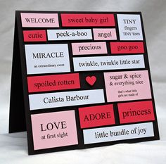 Baby girl word collage card | © handmade by amy on flickr