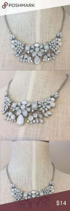 Silver Statement necklace Great condition. Silver and clear gems  Jewelry Necklaces