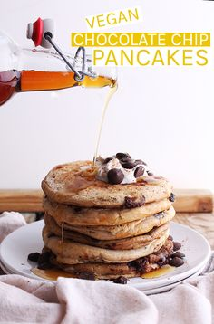 These decadent vegan Chocolate Chip Pancakes show your loved ones you care as the perfect breakfast in bed for Valentine's Day or Mother's Day #vegan #pancakes #veganrecipes #chocolate #brunch