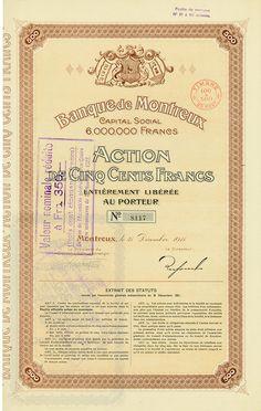 HWPH AG - Historische Wertpapiere - Banque de Montreux / Montreux, 31.12.1911, Action de 500 Francs, später auf 350 Francs umgestempelt Banks, Stocks And Bonds, Savings Bank, Switzerland, Personalized Items, Finance, Safe Room