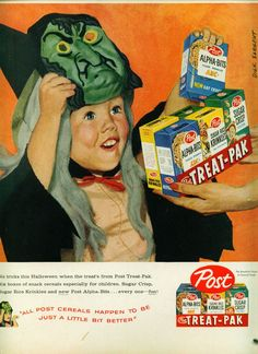 "Post cereals 1959 ""40 VINTAGE ADVERTISEMENTS FOR HALLOWEEN"" I love the illustration and the graphic of retro advertisement, always make me smile! So i selected for you 40 vintage ads for Halloween. Hope you will enjoy! Happy Vintage Halloween!!"
