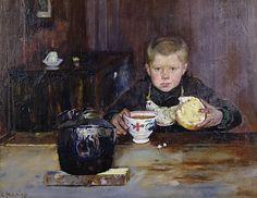 Christian Krohg 1852-1925: Errand Boy Drinking Coffee