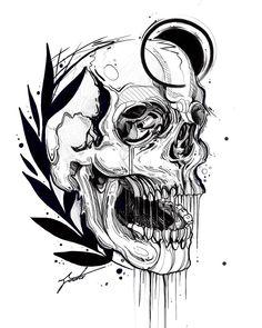 Love this skull artwork Blackwork, Tattoo Sketches, Tattoo Drawings, Art Drawings, Dibujos Dark, Minimal Tattoo Design, Creepy Tattoos, Raven Art, Skull Artwork