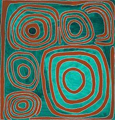 Mawukura Jimmy Nerimah ~ Untitled, 2000 abstract art aqua turquoise teal brown