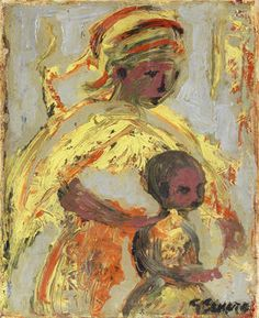 SA art-gerard sekoto Gerard Sekoto, Child Art, Mother And Child, Art For Kids, Portrait, Painting, Black, Visual Arts, Paintings